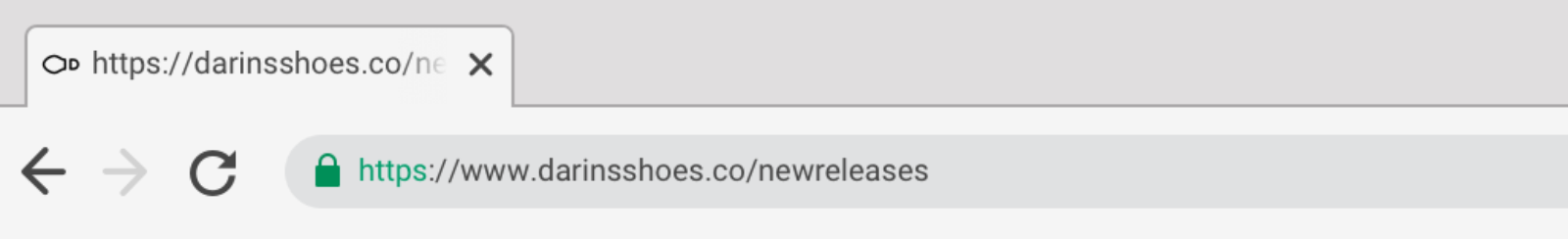Browser interface displaying one tab labelled with a long url