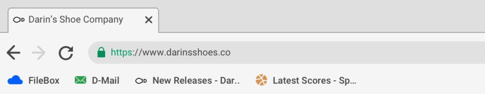 """Browser interface with a bookmarks toolbar. The toolbar contains four bookmark links. One is titled """"New Releases - Darin's Shoe Company"""""""
