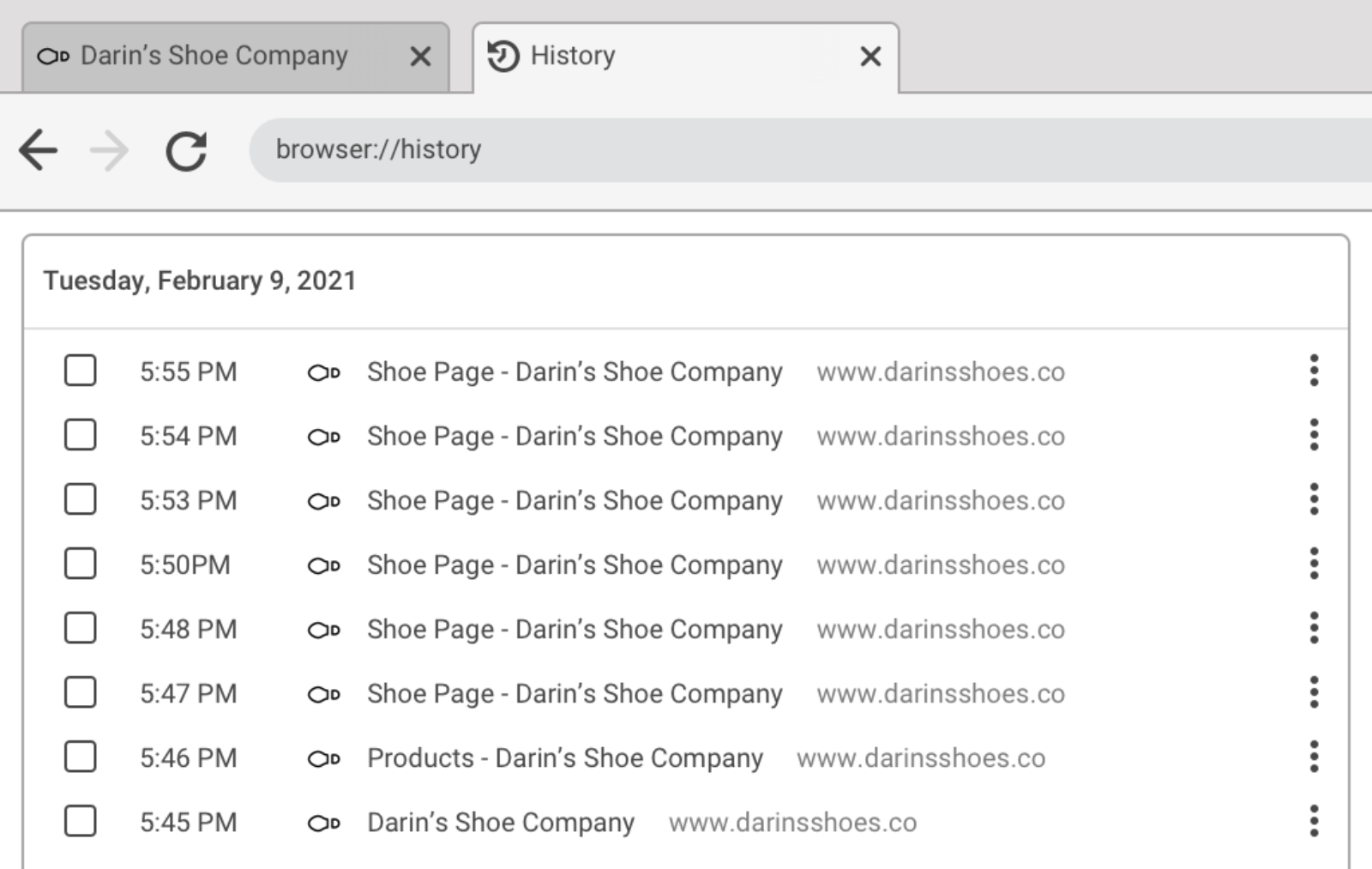 """Browser interface with a history tab open that contains a list of pages with generic titles of """"Shoe Page - Darin's Shoe Company"""""""