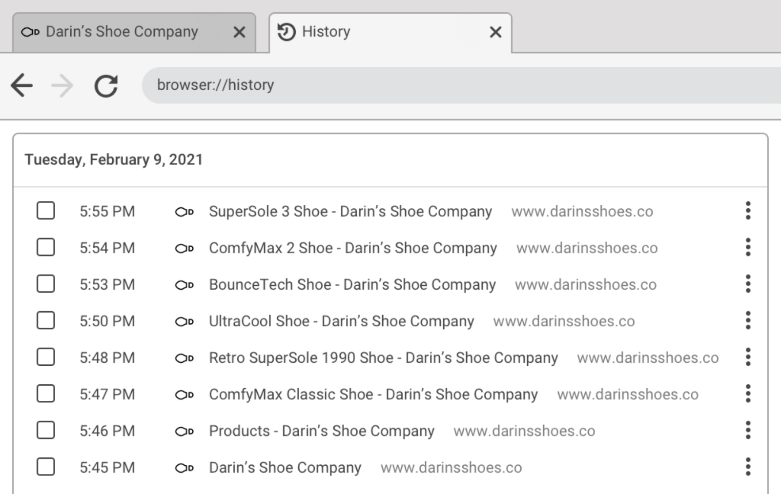 """Browser interface with a history tab open containing a list of pages with unique titles like """"SuperSole 3 Shoe - Darin's Shoe Company"""""""