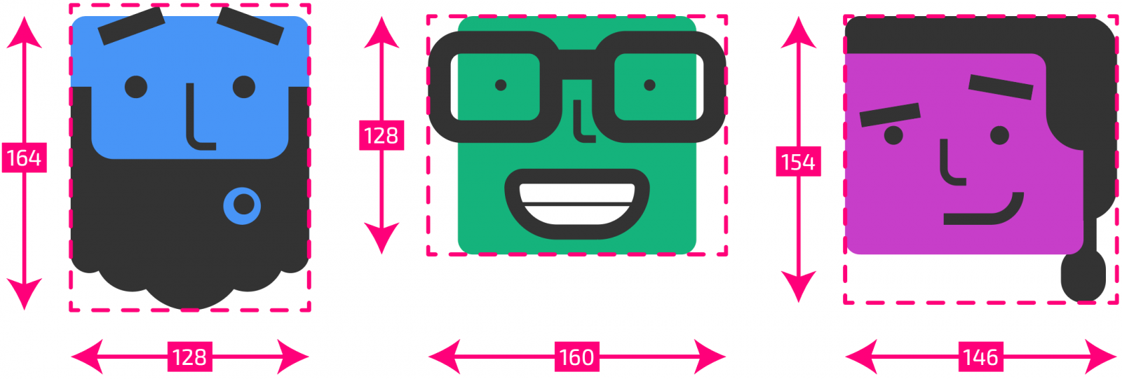 Illustrator artboards with their new measurements overlaid on top. Now, the first avatar is 128 x 164px, the second is 160 x 128px, and the third is 146 x 154px.
