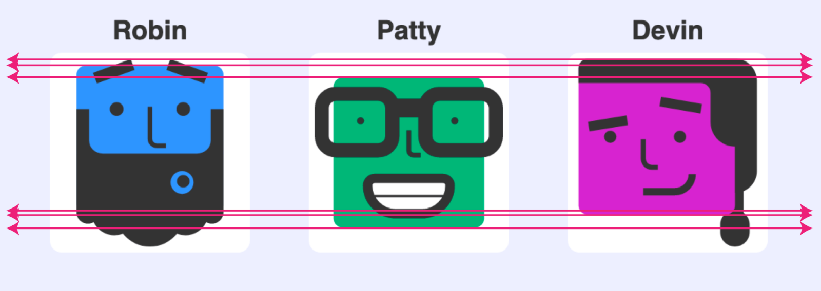 Detailed screenshot of the three modified avatars placed on the page. Lines are overlaid which show the misalignment of the icons' background squares.