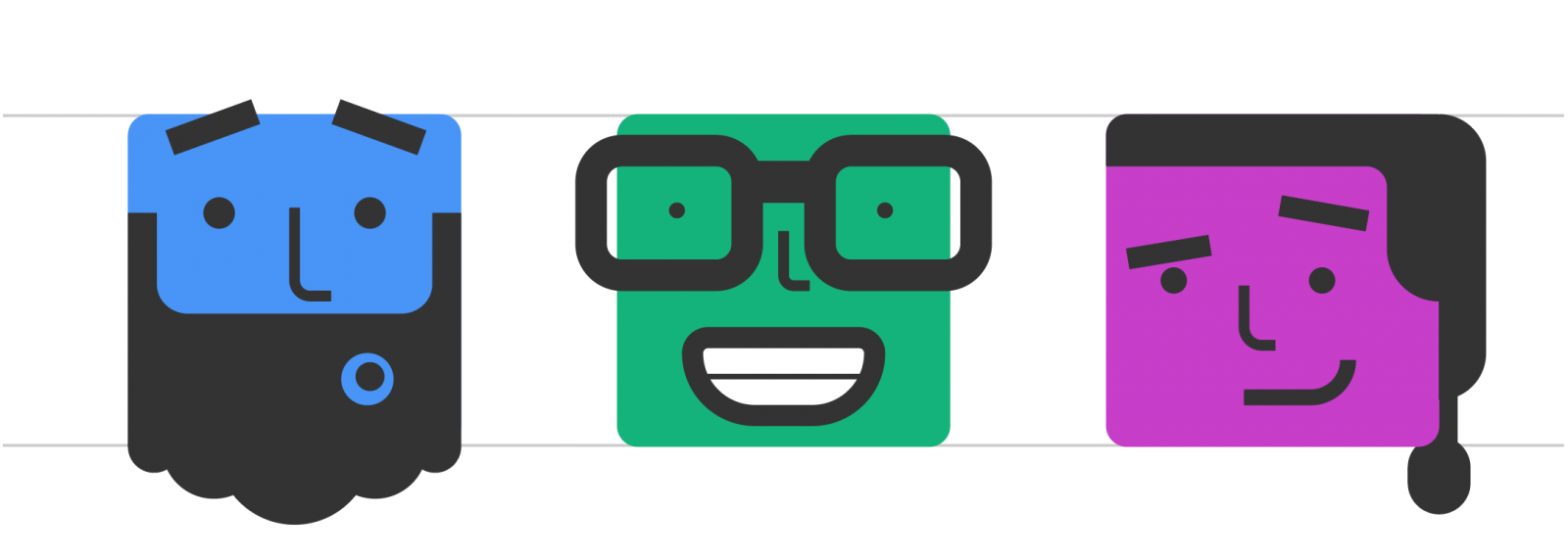 Modified avatars with two guide lines illustrating how the core of the illustrations continue to line up vertically along the top and bottom, while secondary icon elements extend beyond them.