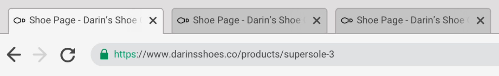 """Browser interface with three tabs labelled """"Shoe Page - Darin's Shoe Company"""""""