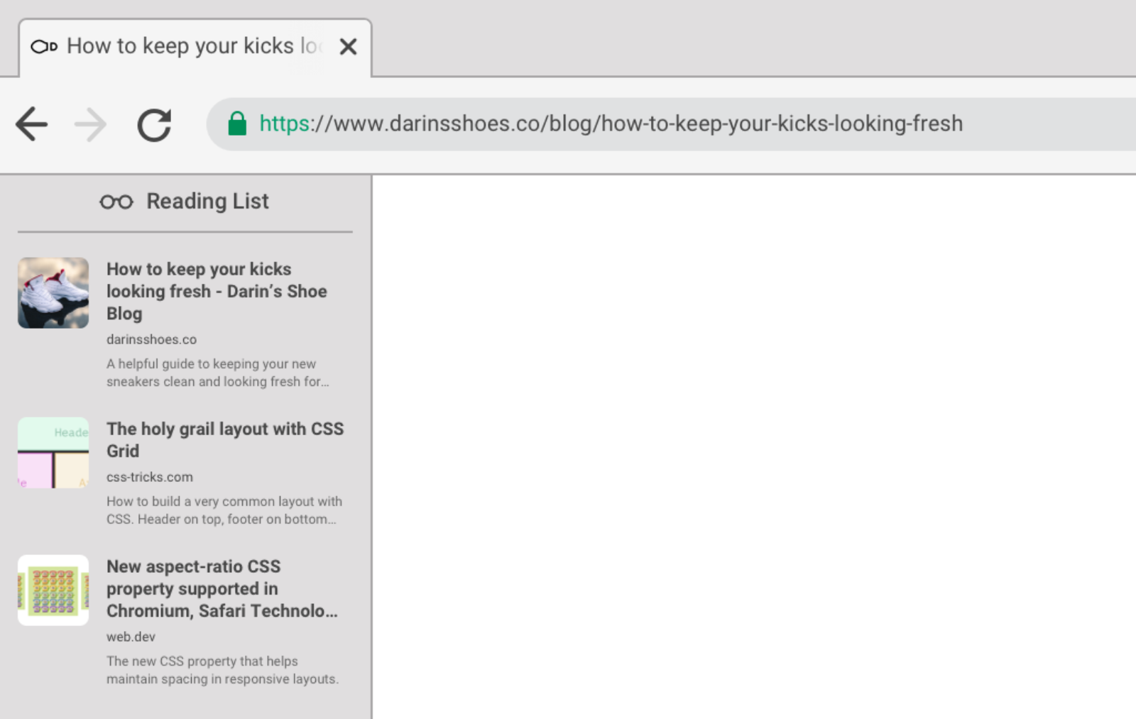 Browser interface with a Reading List sidebar which contains titles, previews, and links to three articles.