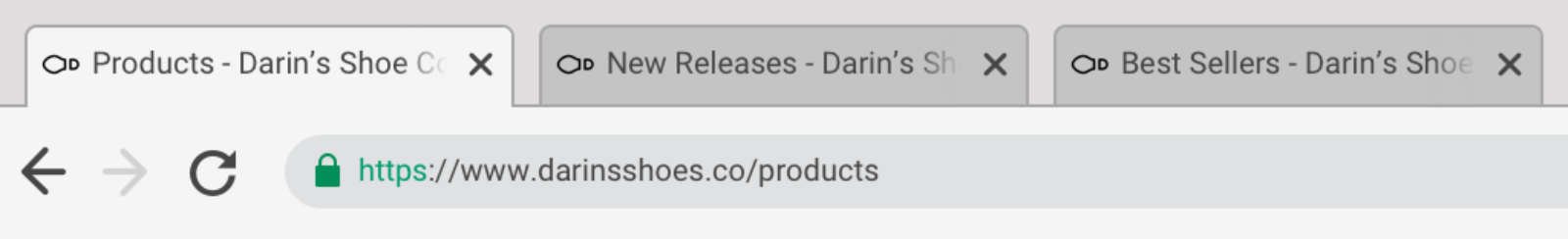 """Browser interface with three tabs labelled """"Products - Darin's Shoe Company"""", """"New Releases - Darin's Shoe Company"""", and """"Best Sellers - Darin's Shoe Company"""""""