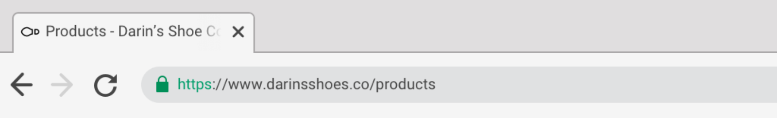 "Browser interface showing one tab labelled ""Products - Darin's Shoe Company"""