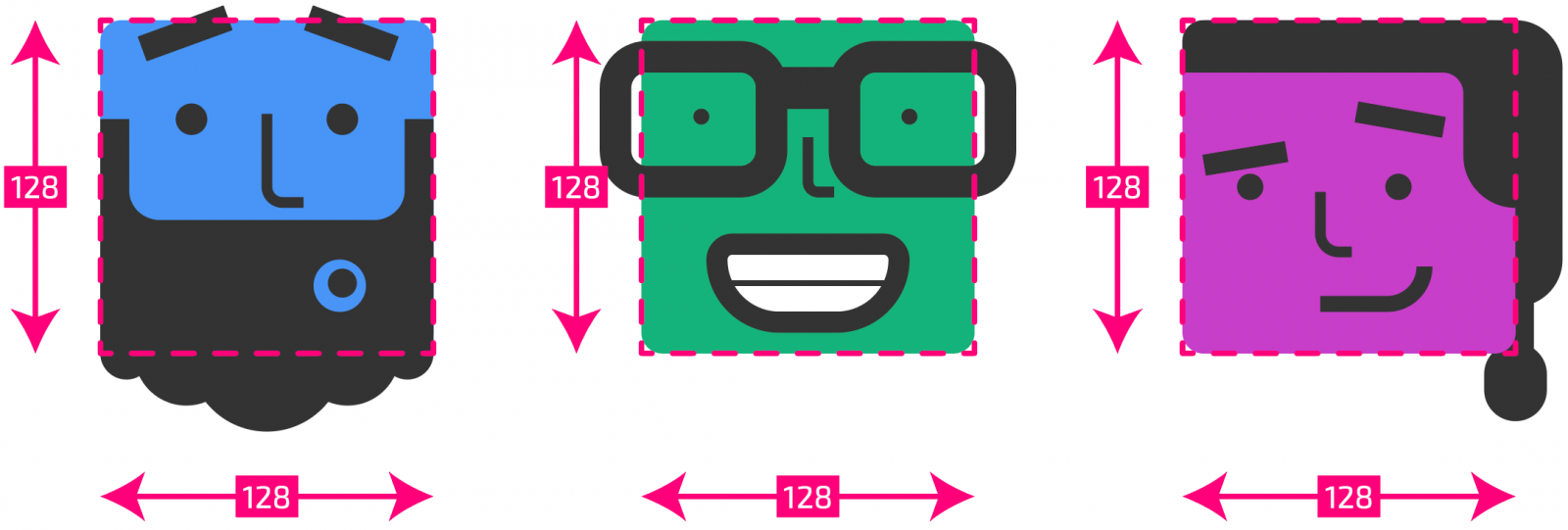 Illustrator artboards with their measurements overlaid on top, showing a consistent 128 x 128px.