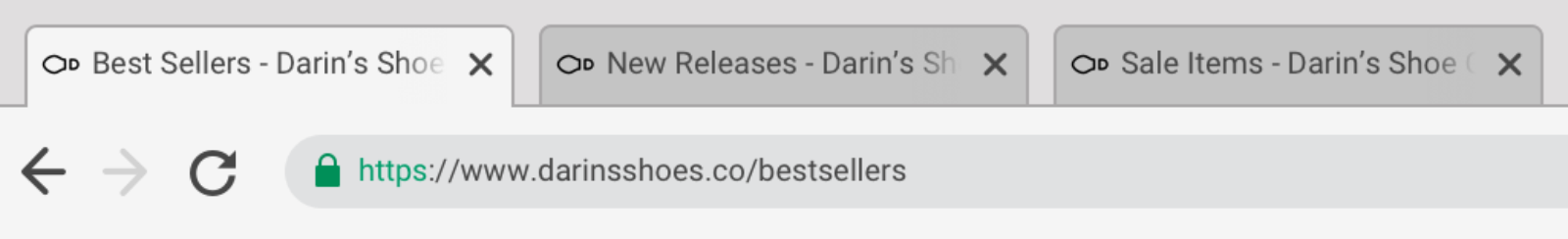 "Tabbed browser interface display three tabs that are labelled ""Best Sellers - Darin's Shoe Company"", ""New Releases - Darin's Shoe Company"", and ""Sale Items - Darin's Shoe Company"""