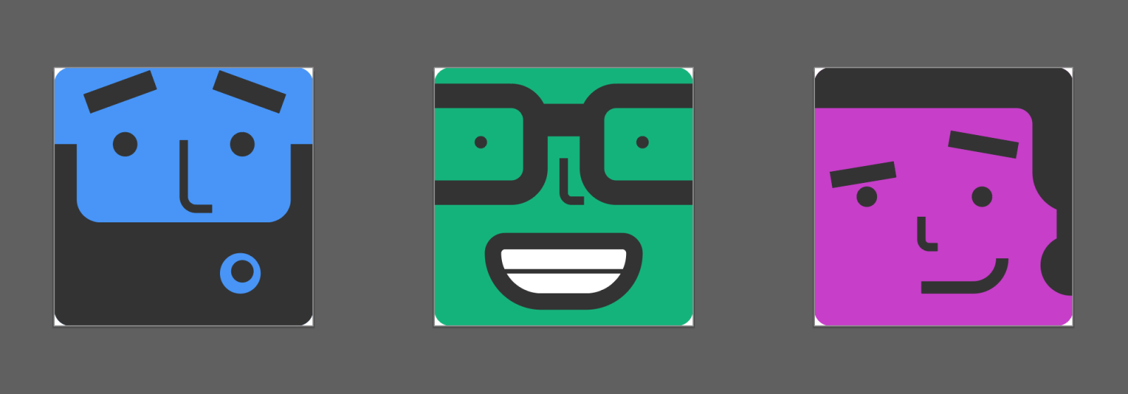Three 128 x 128px artboards in Adobe Illustrator displaying avatar illustrations. The first is a bearded face with raised eyebrows, the second is a smiling face with large glasses, and the third is a smirking face with a ponytail.